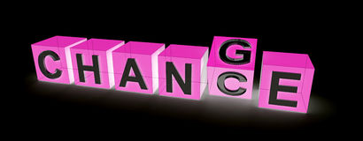 Chance on change. Take a chance on change in letter cubes Stock Photos