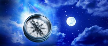 Chance Choices Purpose Life Compass Background. A compass and the universe, moon, sky and stars Stock Photo