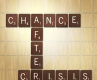 Chance After Crisis. Scrabble blocks with meaningful words Chance After Crisis Royalty Free Stock Image
