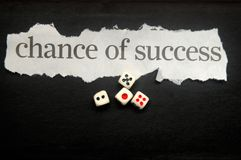 Chance of success. In written cutout text with dice stock photography