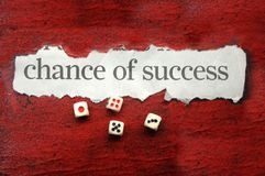 Chance of success. In written cutout text with dice royalty free stock photography