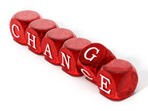 Chance word turning to change. 3D illustration Stock Images