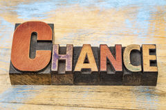 Chance word in wood type Stock Image