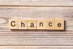 CHANCE word written on wood block. CHANCE text on table, concept stock photos