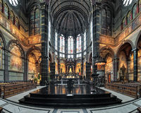 Chancel and altar of Basilica of St. Nicholas in Amsterdam, Netherlands Stock Images