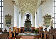 Chancel and altar of the Church of Holy Trinity in Kristianstad, Sweden Stock Images