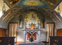 Chancel and altar of Italian Chapel on Orkneys, Scotland. Royalty Free Stock Photography