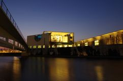 Chancellery building in berlin at night. The chancellery building in berlin at night Royalty Free Stock Photography