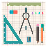 Chancellery set of objects in a flat style. Illustration Stock Images