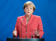 Chancellor of the Federal Republic of Germany Angela Merkel. BERLIN, GERMANY - Aug 24, 2015: Chancellor of the Federal Republic of Germany Angela Merkel during a Stock Photos