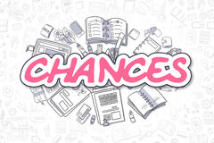 Chances - Cartoon Magenta Text. Business Concept. Magenta Text - Chances. Business Concept with Cartoon Icons. Chances - Hand Drawn Illustration for Web Banners stock illustration