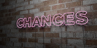 CHANCES - Glowing Neon Sign on stonework wall - 3D rendered royalty free stock illustration. Can be used for online banner ads and direct mailers royalty free illustration