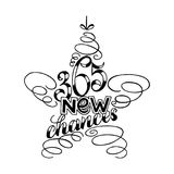 365 chances New Year Lettering in form of star tree toy, Greeting Card design circle text frame isolated on white. Merry and Bright New Year Lettering in form of vector illustration