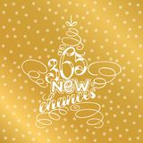 365 chances New Year Lettering in form of star tree toy, Greeting Card design star tree toy text frame isolated on white with gold. 365 chances New Year Stock Photography