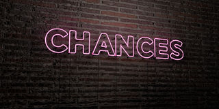 CHANCES -Realistic Neon Sign on Brick Wall background - 3D rendered royalty free stock image. Can be used for online banner ads and direct mailers stock illustration
