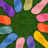 Chancletas coloridas Imagen de archivo libre de regalías