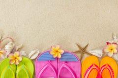 Chancletas en la arena con los shelles y el frangipani Foto de archivo libre de regalías