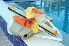 Chancletas y accesorios de la piscina Fotografía de archivo