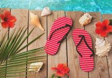 Chancletas y flores del hibisco en fondo de madera Concepto de las vacaciones de las vacaciones de verano Visión desde arriba Fotografía de archivo libre de regalías