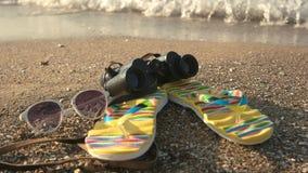 Chancletas y prismáticos almacen de video