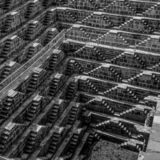 Chand Baori in Black and White stepwell India royalty free stock images
