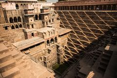Chand Baori farewells, Jaipur, Rajastan. Chand Baori near Jaipur is one of the largest stepwells in the world. Built in the 10th century, it represents one of Stock Photography