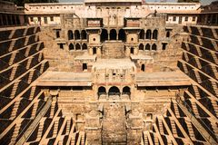 Chand Baori farewells, Jaipur, Rajastan. Chand Baori near Jaipur is one of the largest stepwells in the world. Built in the 10th century, it represents one of Stock Photo