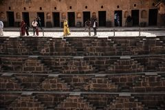 Chand Baori farewells, Jaipur, Rajastan. Chand Baori near Jaipur is one of the largest stepwells in the world. Built in the 10th century, it represents one of Royalty Free Stock Images