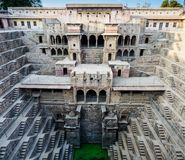 Chand Baori Step well in the village of Abhaneri, Rajasthan State, India. The depth of ancient Chand Baori Step well in the village of Abhaneri, Rajasthan State stock photos