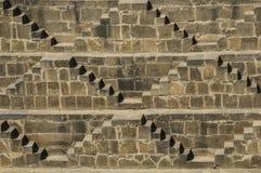 Chand Baori stepwell在Abhaneri,拉贾斯坦村庄, 库存图片