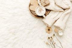 Chandail chaud, café et fleurs sèches au fond blanc images libres de droits