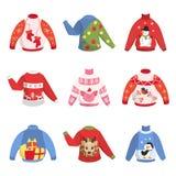 Chandail chaud mignon de Noël pour l'ensemble d'hiver illustration stock