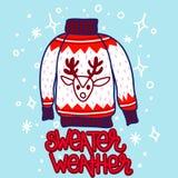 Chandail de Noël de style de griffonnage avec le renne photo libre de droits