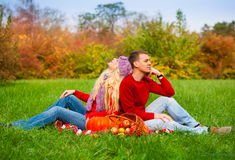 Chandail rouge, blues-jean, chapeau lilas, forêt de pique-nique Photos libres de droits
