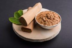 Chandan lape Ayurvedic oder Verzeichnis- der gültigen Seiten oder Sandelholzpaste Stockfoto
