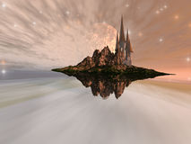 Chandara. A castle maintains an airy existence on this alien world Stock Image