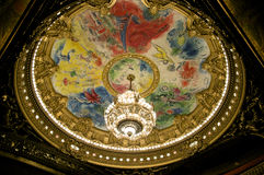 Chandelier. And frescos in the ceiling of the great hall of the Opera of Paris royalty free stock photos