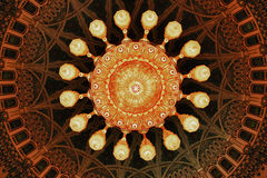 Chandelier. Largest chandelier in the world, seen from underneath, in the Sultan Qaboos mosq in Muscat, Oman Stock Photos