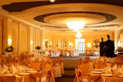 Chandelier. Turabo wedding ballroom for weddings Stock Photos