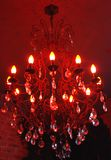 Chandelier. From glass with stylish lamps Royalty Free Stock Photos