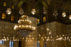 Chandelier. Inside Mohammed Ali Mosque in Egypt Stock Photography