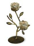 Chandelier antique en métal avec la bougie brûlante Image libre de droits
