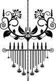 Chandelier. Baroque chandelier silhouette graphic illustration Royalty Free Stock Photos