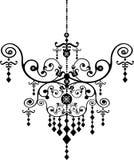 Chandelier. Baroque chandelier silhouette graphic illustration Stock Photos