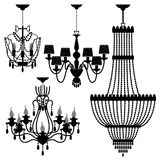 Chandelier Black Silhouette Light Lamp. A set of chandelier for interior design Royalty Free Stock Images
