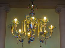 Chandelier blown in Murano glass stock images