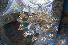 Chandelier. Cathedral of our Savior on spilled blood.Saint Petersburg Russia Royalty Free Stock Photo