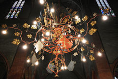 Chandelier in catholic cathedral Royalty Free Stock Image