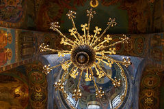 Chandelier and ceiling mosaics in orthodox church Royalty Free Stock Image