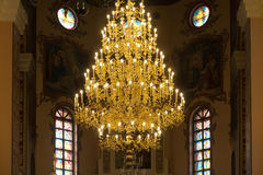 Chandelier in christian church Stock Photo